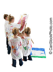Children Painting - Group of girls painting on poster boards...