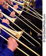 trombone section in concert