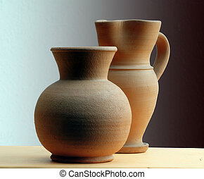 Classic terracotta - Two classic terracotta vase on a shade...