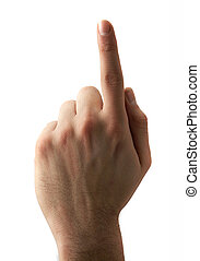 Forefinger indication on white background