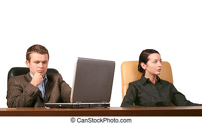 business meeting - Business man and woman at the meeting -...