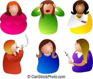 unhealthy women - icon people with health issues