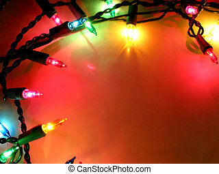 Christmas lights frame 1 - Colorful background with...