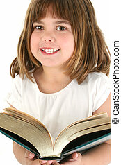 Happy Girl With Big Book - Five year old caucasian girl with...