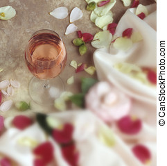 wine glass-flowers - glass of white zin,fabric and flowers...