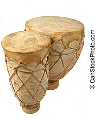 bongos - vertical image of isolated bongo drums