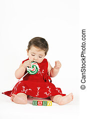 Sweet Baby - Sweet Candy Girl Beautiful baby girl sitting,...