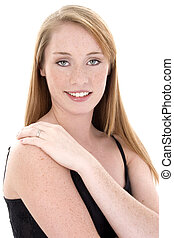 Beautiful Fourteen Year Old Girl in Black Tank Top -...