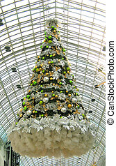 Christmas tree in a mall - Floating christmas tree in a...
