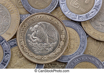Mexican Peso Coins - Used Mexican coins, all pesos. Focus =...