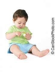 Baby with Pacifier - Baby holding a pacifier