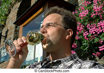 desfrutando, alemão, vinho