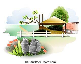Farm house - A rasterized vector drawing of a farm