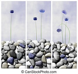 Counting flowers - A rasterized vector drawing of a triptych...