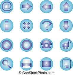 16 icon set - Blue