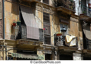 Summer in the city - Spanish balconies in Valencia, Spain
