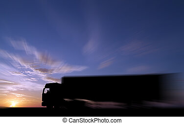 Keep on trucking - Silhouette of articulated freight vehicle...