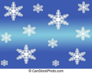 Snow flakes - White snow flakes on blue background