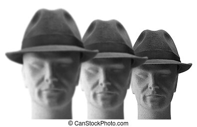 3heads with hats on - three heads with hats on