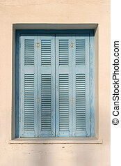 Vintage blue shades - Window detail - with closed classical...