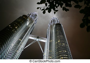 Petronas Twin Towers at night.