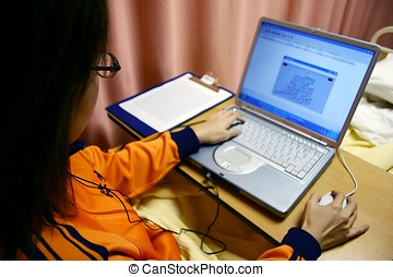 Computer - Office lady working with computer