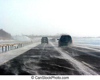 zima, silnice, během, sněžit, bouře