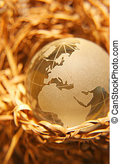 Crystal globe #9 - Concept Protected earth- Europe, africa,...
