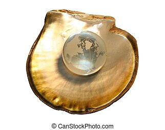 Crystal Globe 1 - Crystal globe on oyster shell, golden...