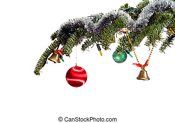 decorated christmas tree branch on white