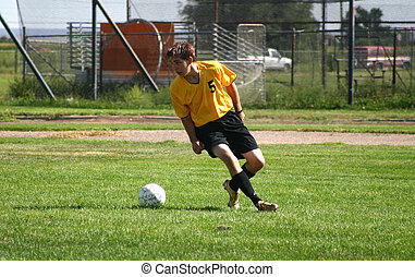 Soccer Player - Soccer player takes a shot on goal