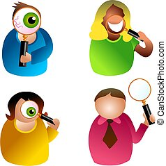 magnify people - icon people with magnifying glass