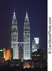 Petronas Twin Tower Night Scene