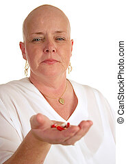 Handful Of Pills - A medical patient holding a handful of...