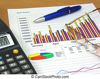 Sales Report 2 - Colorful sales charts, calculator, blue pen...