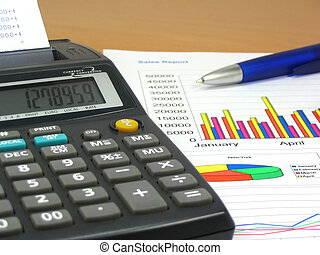 Sales Report 3 - Colorful sales charts, calculator and blue...
