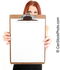 Businesswoman Holding Blank Clipboard - Buisiness woman...