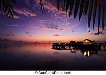 Mabul Island Resort in dawn, Sabah, Malaysia