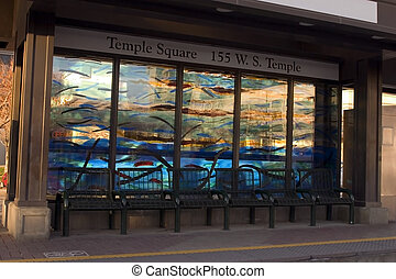 Bus Stop in downtown by the Temple Square