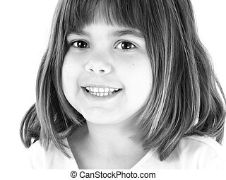 Happy Girl - Close up 5 year old girl in black and white....