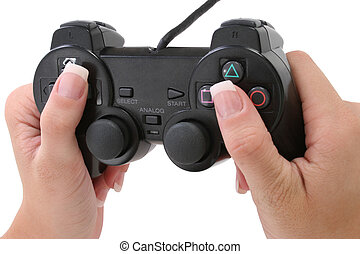 Video Game Controller - Womans manicured hands on video game...