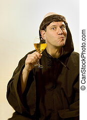 The Monk and His Wine - Photo of a monk enjoying his wine