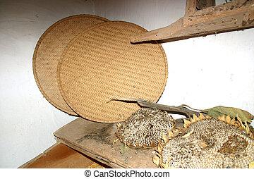 Winnowing Baskets - Winnowing baskets and sunflower seed...