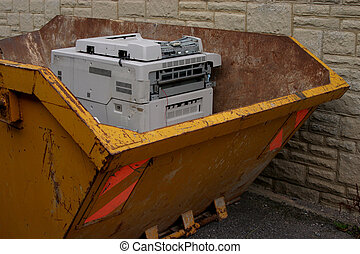 Duty done - Old photocopier in dumpster