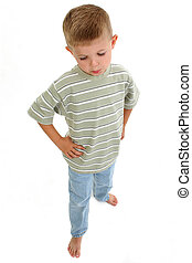 Boy Pouting - Four year old boy pouting. Full body shot over...