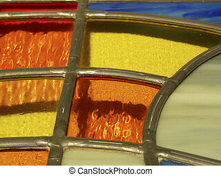 Lead & Glass - 2 - Close-up of multi-colored leaded glass