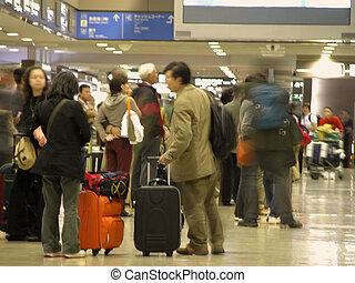 Airport crowd - People in an airport