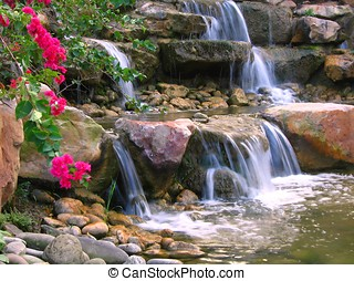 Beautiful Garden - -- with rocks and cascading water