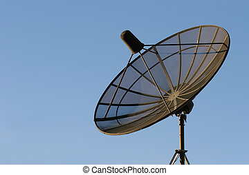 satellite dish - black dish mounted on a rooftop against...