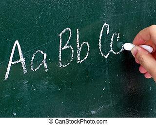 writing ABC - writing abc on the blackboard
